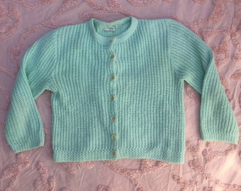 Medium 1950s seafoam green Carol Brent knit cardigan sweater