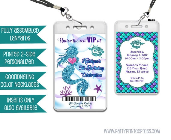 Mermaid VIP Pass Lanyard Invitations Under The Sea VIP Birthday