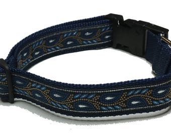 Dog Collar, Metallic Leaves