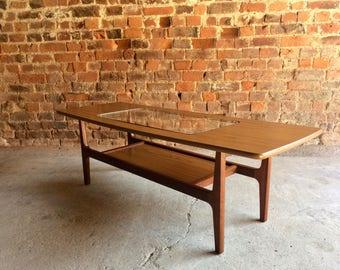 Mid Century Schreiber Teak Coffee Table Vintage Danish Design 1970s