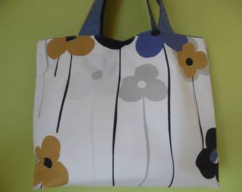 Large floral designer fabric and denim tote bag