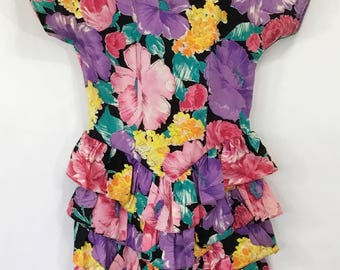 90's Bright Floral Hippie Boho Flower Gypsy Festival Party Tiered Ruffle Dress