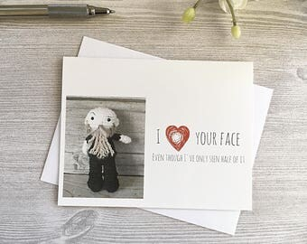 Funny Beard Card - For Husband - Father's Day - Valentines Day Greeting Card - Love Card - For him