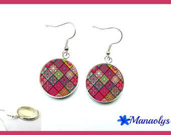 Multicolor patchwork 2535 glass cabochons earrings