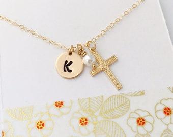 Gold Cross Necklace, Cross Necklace, Personalized Cross Necklace, Confirmation Necklace, Religious Jewelry, Custom Gold Cross Necklace