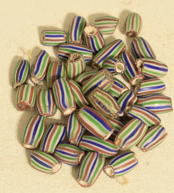 Beads Green Stripped Chevron Oval African Glass Beads 18mm