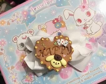 Pom Pom Purin Cookie Bow - Hair Clip
