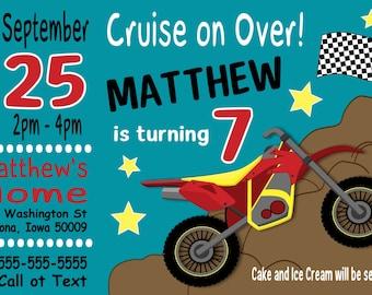Custom Dirt Bike Motorcycle Birthday Party Invitation Print at Home Digital File