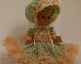 Green & Peach Frilly Dress Set for 14 Inch Uneeda Baby Trix Dolls