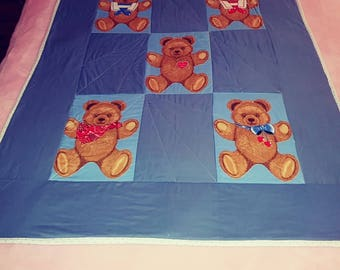 Blue bears toddler pieced quilt handmade Pinklady cottage
