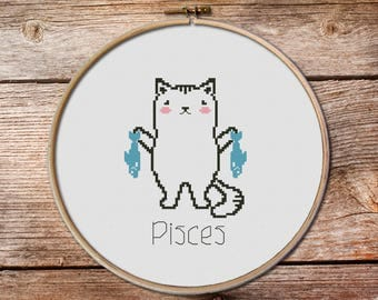 Pisces-zodiac sign, Pisces Cross Stitch, cute zodiac cross stitch, kawaii pisces, cute cross stitch, kawaii cat cross stitch pattern, pisces