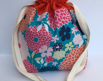 Sock Project Bag, Floral Project Bag, Small Project Bag, Drawstring Bag
