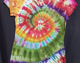 Ladies Ice Dyed Fitted T-Shirt Size 12