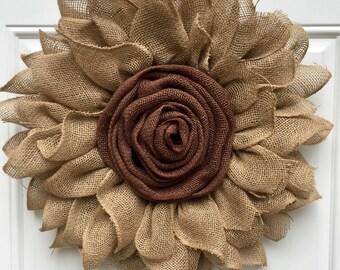 Burlap Sunflower Wreath, Large Shabby Chic Brown Sunflower Wreath, Americana Style Sunflower Wreath, Unique Housewarming Gift, Flower wreath