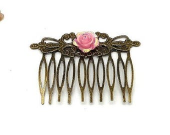 Hair accessory flower bronze rose charms and co.