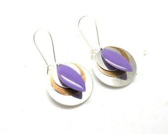 Earrings sleepers silver sequins and drop enamel violet