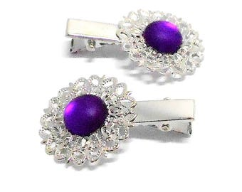 2 hair clips has silvery hair matte purple cabochon