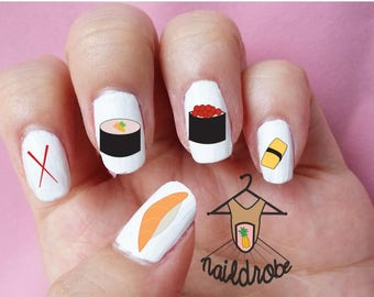 BUY 2 GET 1 FREE**Check Description** 30 Sushi Nail Decals  (Waterslide Nail Decal)