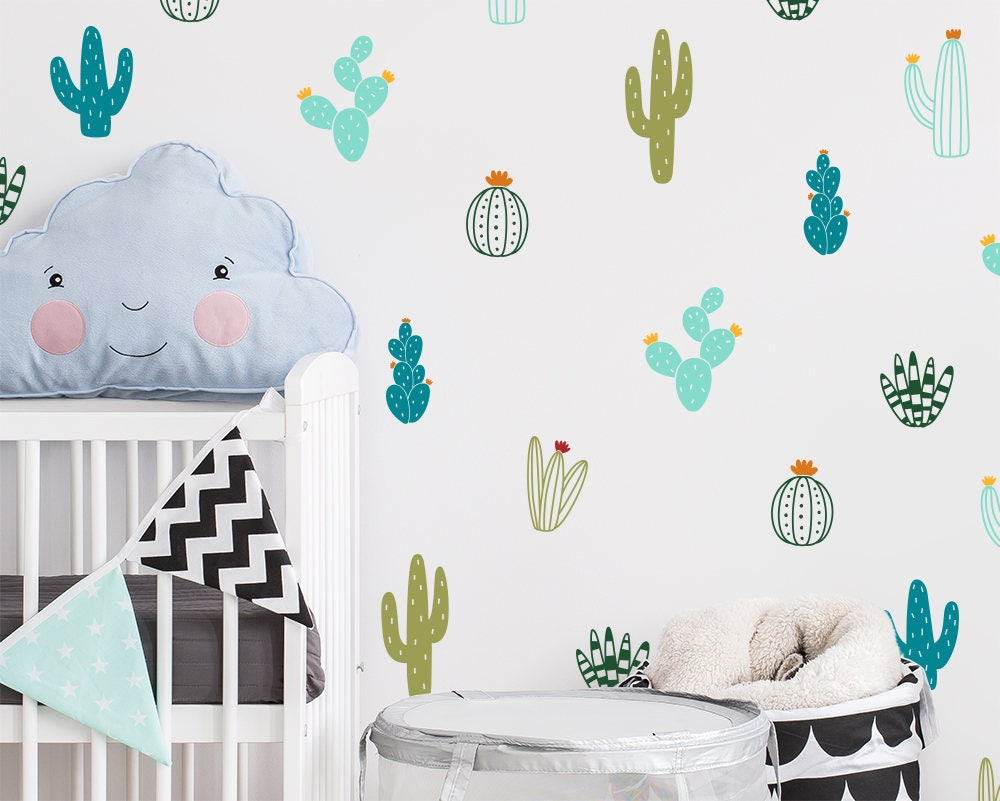 Cactus Wall Decals Colorful Cacti Wall Stickers Nursery