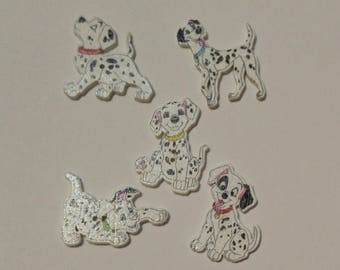 5 Wooden Dog Buttons - Wooden Dog Buttons -  #SB - 00367