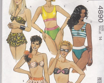 RARE, Vintage McCalls 4890 Swim Suit pattern, NEW & UNCUT for size 14. High cut legs, skirted swim bottom, Strapless, halter, pullover top