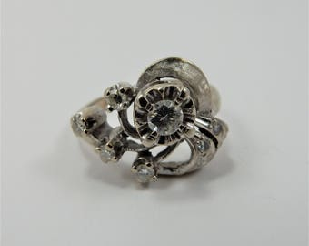 14kt White Gold Diamond Engagement Ring, Floral Asymmetric Detail, Vintage Circa 1930's