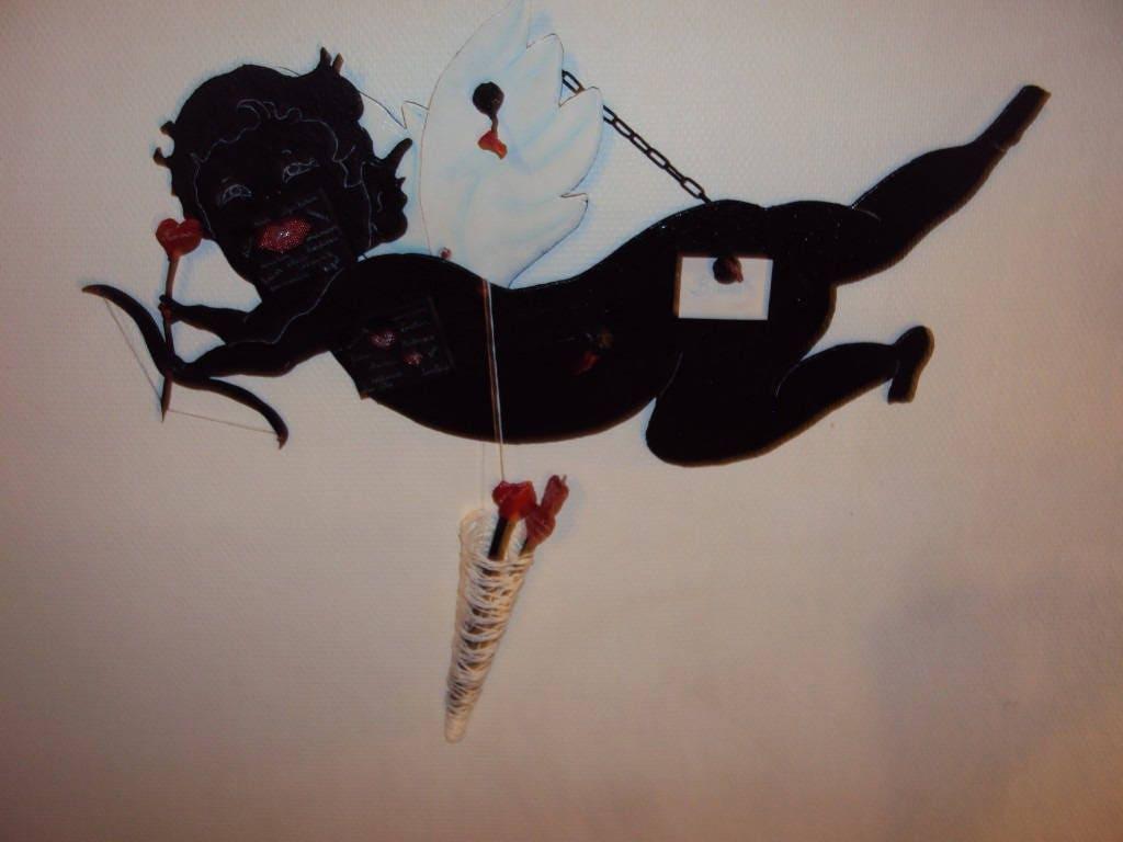 tableau noir cupidon et ses fl ches du d sir tableau. Black Bedroom Furniture Sets. Home Design Ideas