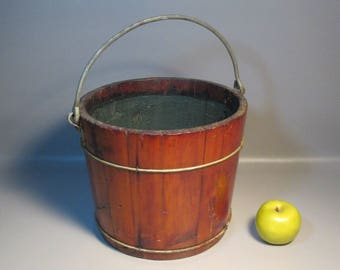 Primitive Farm Well Water Bucket Pail c1850 w/17 Maple Wood Staves Iron Straps