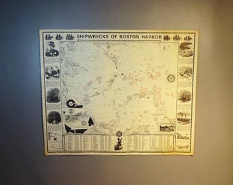 Vintage Poster Shipwrecks Of Boston Harbor w/Location & Names Of 75 Wrecks---