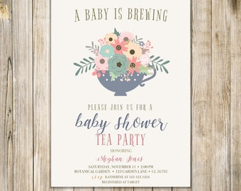 Rustic BABY IS BREWING Invitation, Floral Baby Shower Tea Invite, Coed Baby Shower Invites, Baby Coffee Shower, Sip and See, Meet and Greet