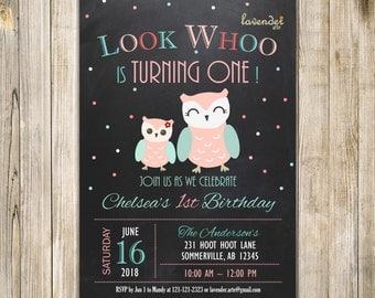 CHALKBOARD OWL BIRTHDAY Invitation, Teal Pink Mint Birthday Invite, Girls Birthday, Look Whoo, Hoot Hoot, Owl Birthday Party, 1st Birthday