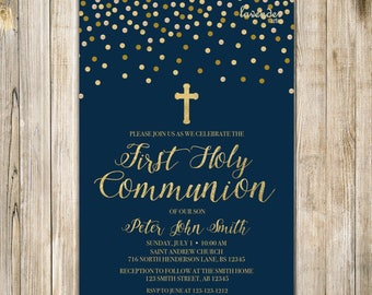 FIRST HOLY COMMUNION Invitation, Baby Boy First Communion, Printable Baptism Invite, Baby Christening Invites, Navy Blue and Gold, LA20