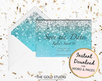 Printable Blue Sweet 16 Save the date card, turquoise sweet sixteen save the date Print at home for Mac or PC Word or Pages Instant Download
