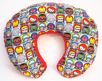 Superhero baby nursery, Boppy pillow cover, nursing pillow cover, breastfeeding pillow, Marvels Kawaii Hero Character block