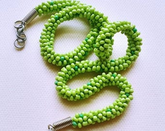 Green Skinny Beads Necklace, Rope Snake Beaded Necklace, Friendship Necklace, Holiday Jewelry Gift, Green Beaded Choker