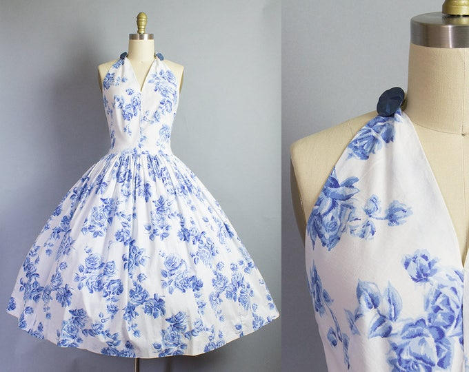 1950s Blue Rose Halter Sundress/ Small (34b/25w)