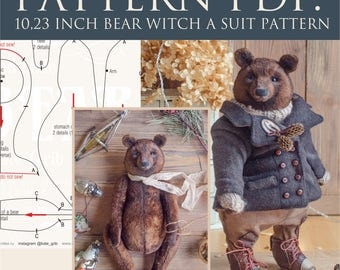PDF teddy bear Bertold 10,23 inches with a clothes pattern