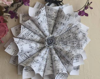 Paper Cone Wreath, Chopin Sheet Music, Music Note Wreath, Bridal Shower, Wedding Gift, Decor, Glitterglass, 11""