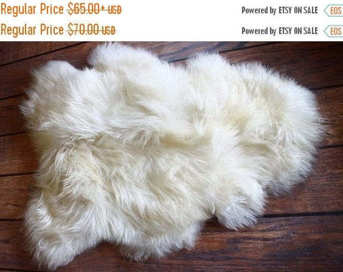 ON SALE ON Sale Exclusive Genuine Natural Icelandic Sheepskin Rug, Pelt, super soft long fur  Creamy White