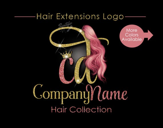 Hair Extensions Business Logo, Glitter Bling Logo, Rose Gold Hair Logo, Custom Strands Logo, Hair Bundle Logo, Crown Logo, Hair Packing Logo