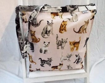 Cat boho messenger across body bag, cats, shopping