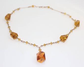 Vintage 1930s Amber / Orange coloured glass necklace Art Deco