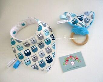 Birth, Christmas * Mini baby box - bandana bib + rattle bunny ears