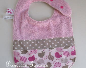 Bib lined in cotton and sponge birds - personalized embroidery