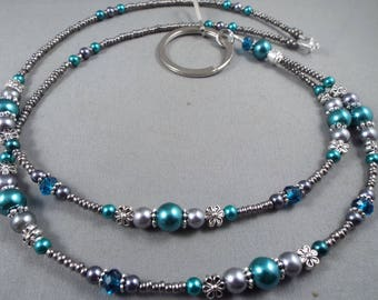 "Beaded breakaway lanyard teal and gray glass pearls and crystals 32"" to 44"" ID badge holder with magnetic or toggle clasp  ,unique fashion"