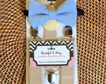 Blue Baby Boy Bowtie, Toddler Bow Tie, Light Blue Bow Tie and Tan Suspender Set- 6 Months to 5 Years Old