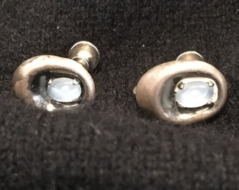Vintage Sterling Silver & Opal Earrings