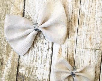 White bows/bow set/holiday bows/christmas bows/toddler bows