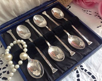 Set of six silver plated coffee spoons.  Vintage.