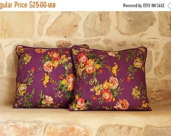 ON SALE! Purple floral pin-tuck,screen print throw cushion cover, Bohemian pillow cover